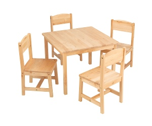 KidKraft Farmhouse 5 Piece Kids Table & Chair Set, Natural