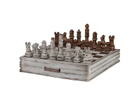 LivingStyles Alicia Mahogany Timber Chess, Distressed Antique White / Antique Oak