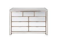 LivingStyles Sabrina Mirrored 9 Drawer Chest, 132cm