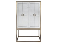LivingStyles Rochester II Antique Mirrored 2 Door Bar Cabinet