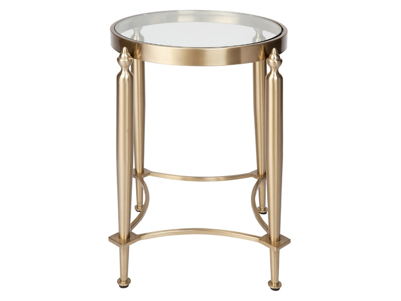 Jak Stainless Steel Round Side Table, Gold