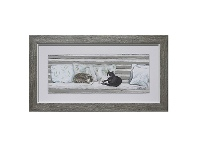 LivingStyles Nap on Bench Series Framed Wall Art, Type B, 43cm