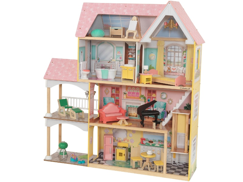 KidKraft Lola Mansion Dollhouse with EZ Kraft Assembly