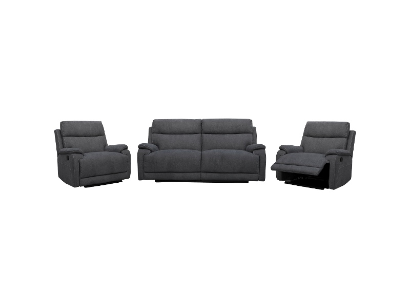 Columbia 2.5+1+1 Seater Linen Fabric Recliner Sofa Suite, Charcoal