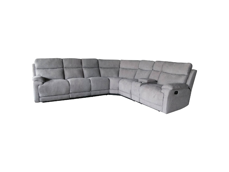 Columbia 5 Seater Rhino Fabric Corner Sofa with End Recliners, Storm