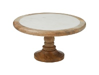 LivingStyles Eliot Marble & Mango Wood Footed Serving Board / Cake Stand