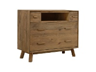 LivingStyles Mandalay Recycled Pine Timber 4 Drawer High TV Stand, 112cm