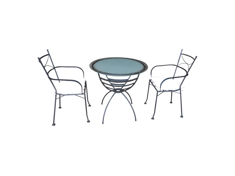 Dianna 3 Piece Glass Topped Metal Outdoor Round Garden Table Set