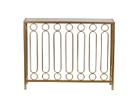 LivingStyles Ring Bar Iron & Marble Console Table, 94cm