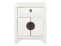 LivingStyles Ava Pine Timber 2 Door 1 Drawer Oriental Bedside Table, Distressed White
