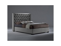 LivingStyles Toccata Leather Bed, Queen, Grey