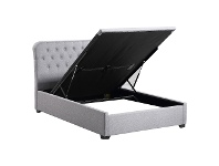 LivingStyles Melvin Fabric Gas Lift Bed, Queen, Light Grey