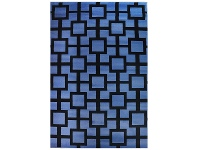 LivingStyles Botticelli Grid Modern Rug, 170x117cm, Blue/Black