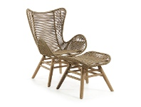 LivingStyles Kamden Rope & Eucalyptus Timber Indoor / Outdoor Lounge Chair with Foot Stool, Khaki