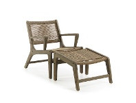 LivingStyles Bosley Rope & Eucalyptus Timber Indoor / Outdoor Lounge Chair with Foot Stool, Khaki