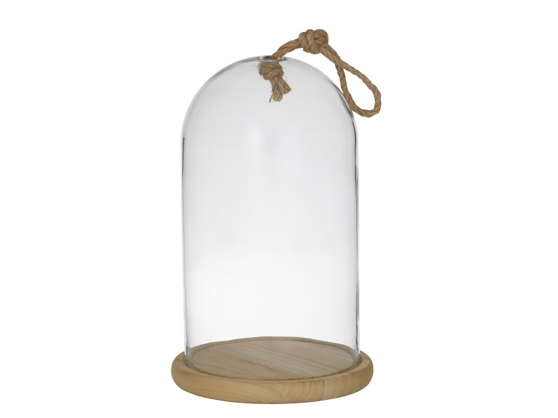 Austin Glass Cloche with Wooden Base, Large
