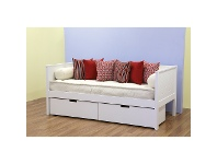 LivingStyles Cologne Wooden Daybed, Single (Excl. Drawers), White