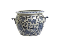 LivingStyles Imperial Oriental Blue & White Ceramic Flower Pot