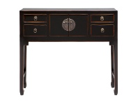 LivingStyles Ava Pine Timber 2 Door 4 Drawer Oriental Console Table, 99cm, Distressed Black