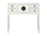 LivingStyles Ava Pine Timber 2 Door 4 Drawer Oriental Console Table, 99cm, Distressed White