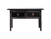 LivingStyles Calais Pine Timber 4 Door Oriental Console Table, 147cm, Distressed Black