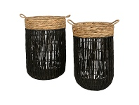 LivingStyles Farrel 2 Piece Water Hyacinth Hamper Set, Black