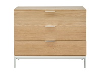 LivingStyles Haman Wooden 3 Drawer Chest, Oak / Silver