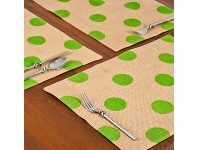LivingStyles Westie Burlap Table Placemat, Green Dot