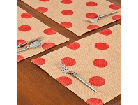 LivingStyles Westie Burlap Table Placemat, Red Dot