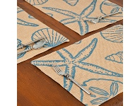 LivingStyles Westie Burlap Table Placemat, Blue Seashells