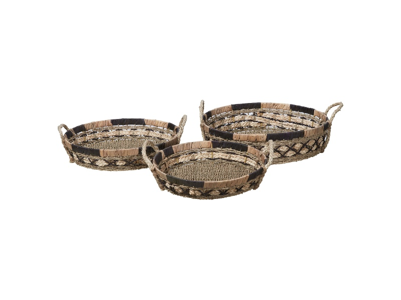 Equador 3 Piece Woven Water Hyacinth Tray Set, Round