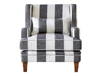 LivingStyles Kimberley Striped Fabric Armchair, Charcoal / Cream