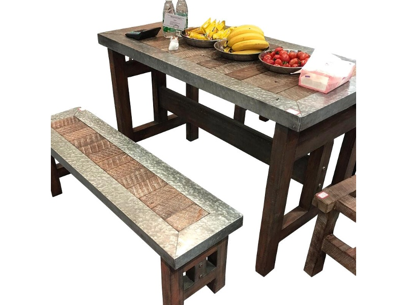 Hayes 3 Piece Timber & Steel Outdoor Dining Table Set, 120cm