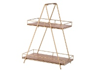 LivingStyles Cova Wood & Metal 2 Tier Tray Stand, A-frame