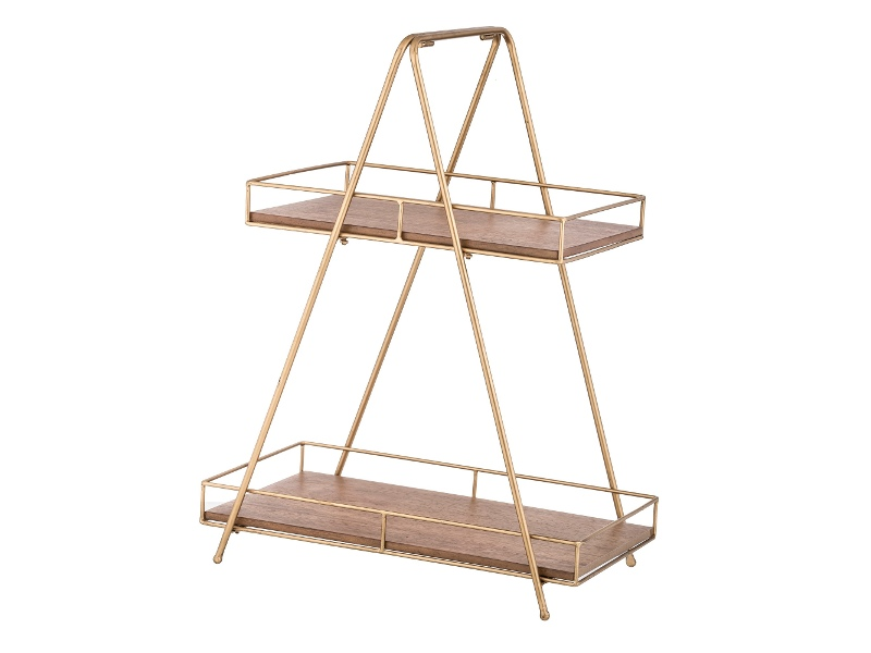 Cova Wood & Metal 2 Tier Tray Stand, A-frame