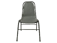 LivingStyles Saddle Leather & Steel Dining Chair, Grey
