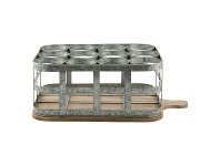 LivingStyles Chaville Iron Bottle Caddy on Timber Serving Board, Large