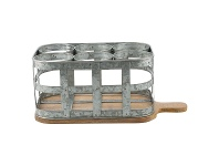 LivingStyles Chaville Iron Bottle Caddy on Timber Serving Board, Small