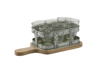 LivingStyles Chaville Iron Tumbler Caddy on Timber Serving Board with Tumblers, Small