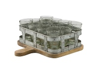 LivingStyles Chaville Iron Tumbler Caddy on Timber Serving Board with Tumblers, Large