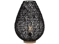 LivingStyles Lonsdale Paper & Metal Table Lamp, Black