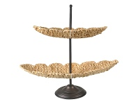 LivingStyles Oasis Rush Grass & Iron 2 Tier Stand