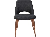 LivingStyles Albury Commercial Grade Fabric Dining Chair, Slim Metal Leg, Charcoal / Copper