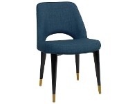 LivingStyles Albury Commercial Grade Fabric Dining Chair, Timber Leg, Blue / Black Brass