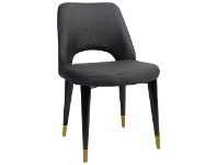 LivingStyles Albury Commercial Grade Fabric Dining Chair, Timber Leg, Charcoal / Black Brass