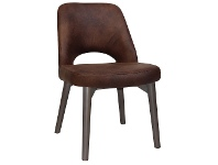 LivingStyles Albury Commercial Grade Eastwood Fabric Dining Chair, Timber Leg, Bison / Olive Grey