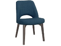 LivingStyles Albury Commercial Grade Fabric Dining Chair, Timber Leg, Blue / Olive Grey