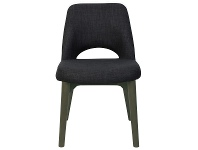 LivingStyles Albury Commercial Grade Fabric Dining Chair, Timber Leg, Charcoal / Olive Grey