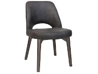 LivingStyles Albury Commercial Grade Eastwood Fabric Dining Chair, Timber Leg, Slate / Olive Grey