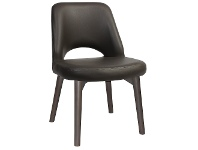 LivingStyles Albury Commercial Grade Vinyl Dining Chair, Timber Leg, Charcoal / Olive Grey